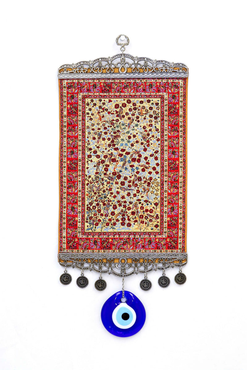 Red & Orange Turkish Evil Eye Wall Rug - South Asian Fashion & Unique Home Decor