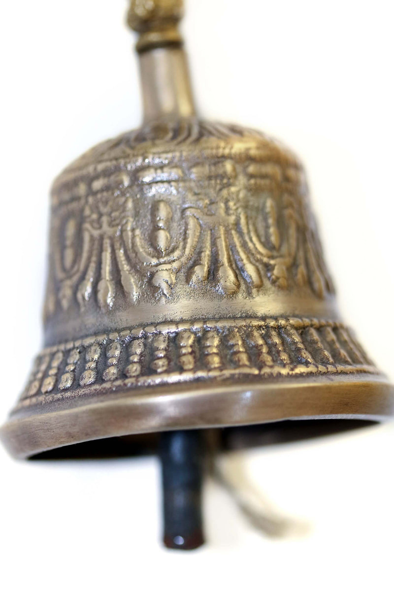 Brass Engraved Temple Bell - Nepal - South Asian Unique Home Decor