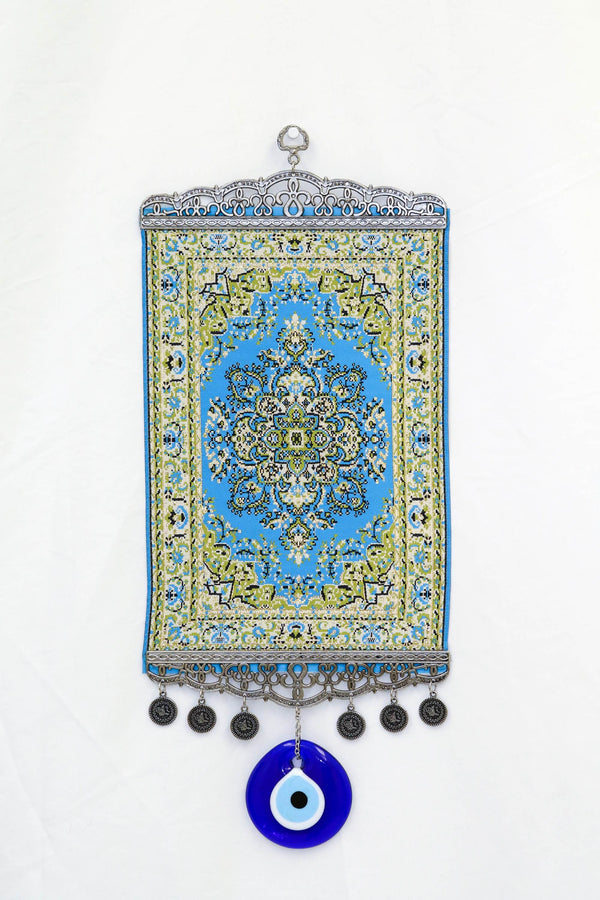 Blue & Green Turkish Evil Eye Wall Rug - Trendz & Traditionz Boutique