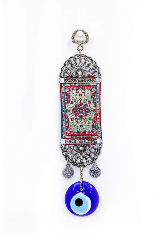 Miniature Red Turkish Evil Eye Wall Rug  - Trendz & Traditionz Boutique