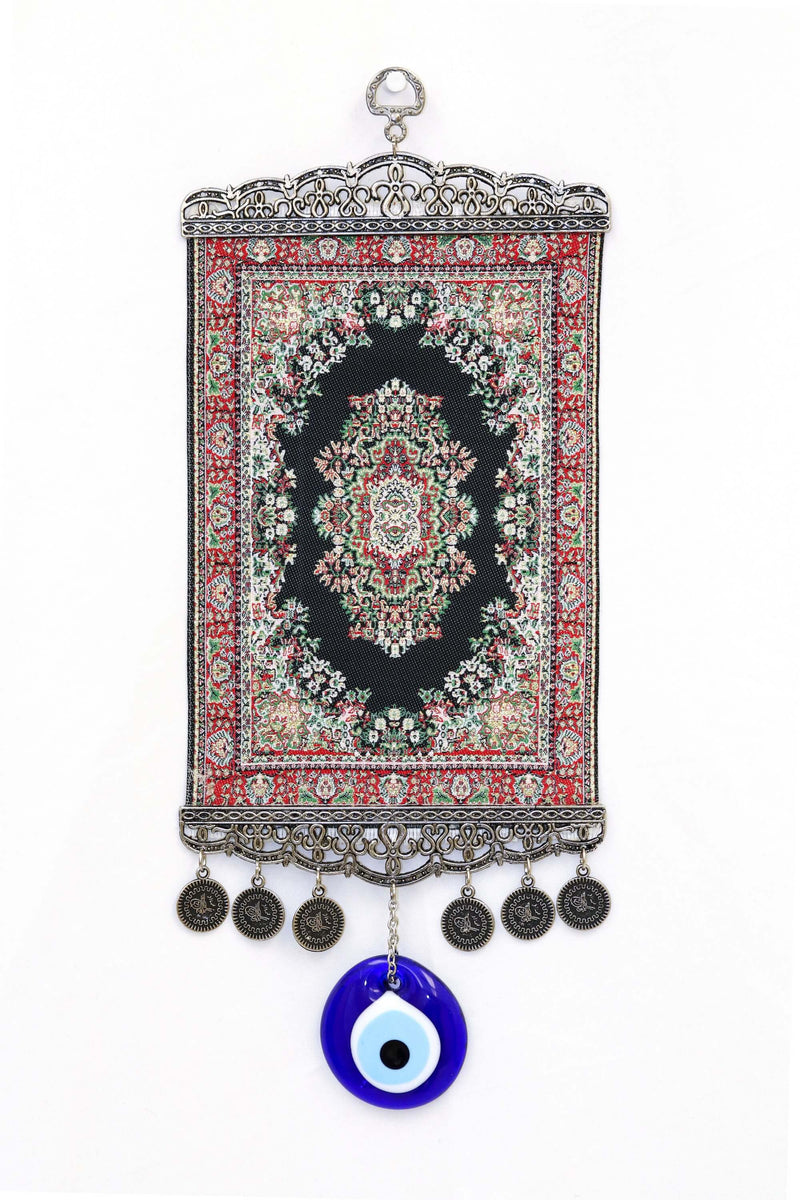 Black & Silver Turkish Evil Eye Wall Rug - Trendz & Traditionz Boutique