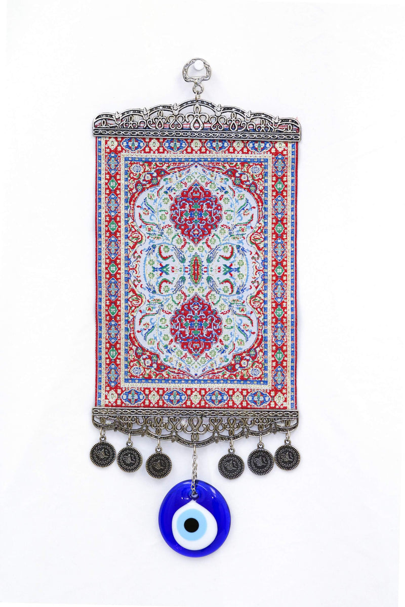 Red & Blue Turkish Evil Eye Wall Rug - South Asian Fashion & Unique Home Decor