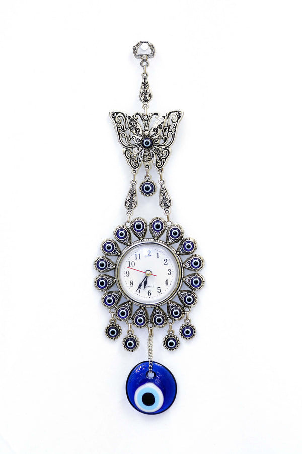 Turkish Evil Eye Butterfly Clock - South Asian Fashion & Unique Home Decor