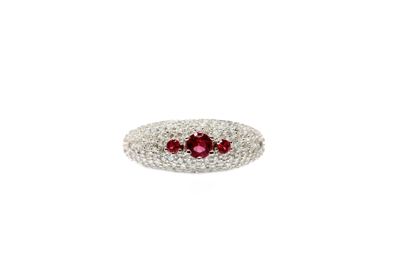 Silver Ring With White & Maroon Crystals - Trendz & Traditionz Boutique