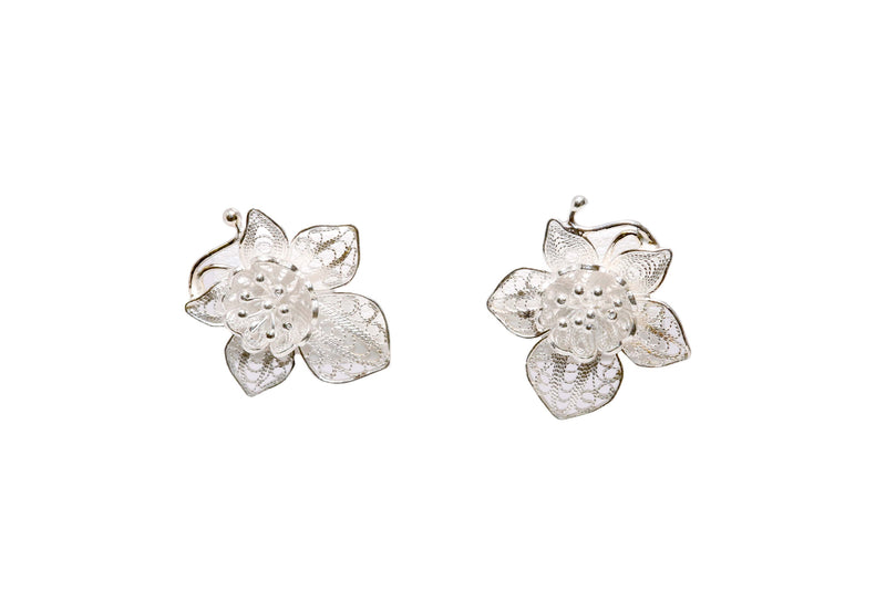 Metal Floral Stud Earrings - Trendz & Traditionz Boutique