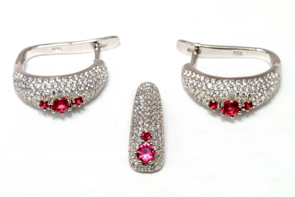 Crystal Earrings & Pendant With Ruby Red Stones - Trendz & Traditionz Boutique