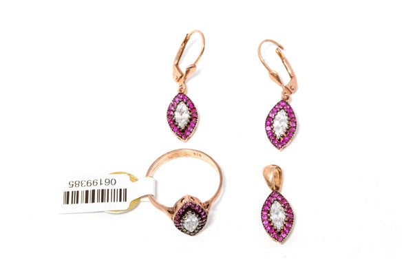 Turkish Silver & Magenta Jewelry Set - South Asian Accessories