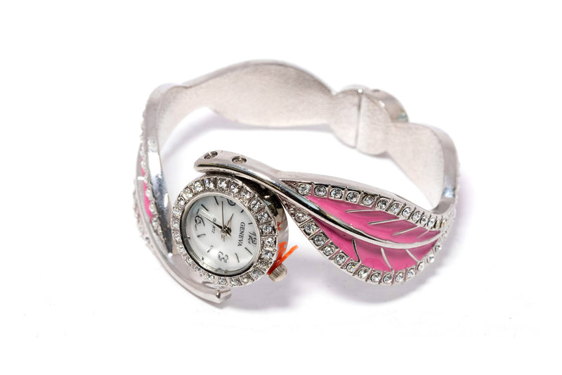 Silver & Pink Leaf Cuff Watch - Bracelet - Silver Bangle with Blue Stones - Bracelet - South Asian Jewelry and Accessories