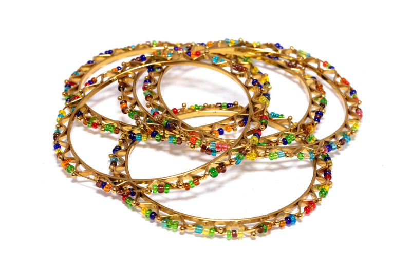 Colorful Beaded Gold Bangles - Bracelets - South Asian Jewelry