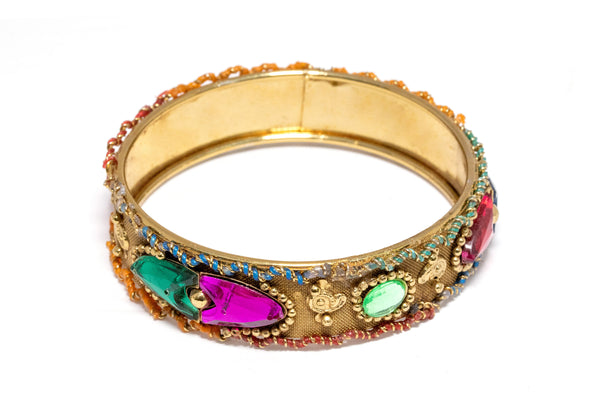 Colorful Crystal Copper Bangle - Bracelet - South Asian Jewelry