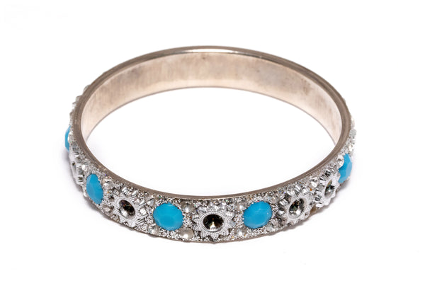 Silver Bangle with Blue Stones - Bracelet - South Asian Jewelry and Accessories