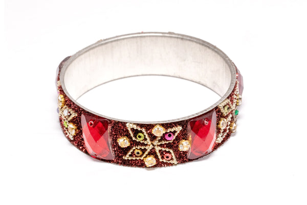 Silver Bangle with Red Crystals - Bracelet - South Asian Jewelry and Accessories