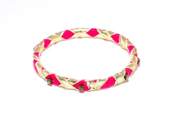 Pink Ribbon Wrapped Bangle - Bracelet - South Asian Jewelry and Accessories