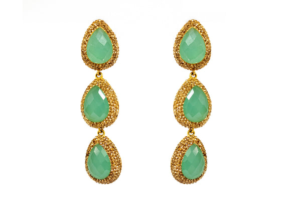 Jade Green Turkish Silver - Dangle Earrings - South Asian Jewelry