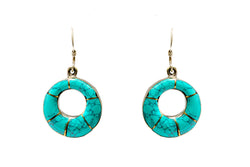Turquoise Dangle Earrings - Circle - South Asian Jewelry