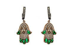 Emerald Green & Turkish Silver Hamsa Earrings - South Asian Jewelry