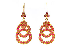 Red & Turkish Silver - Gold Dangle Earrings - South Asian Accessories