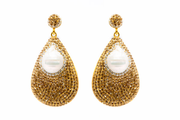Gold Teardrop Earrings with Pearls - South Asian Jewelry & Fashion