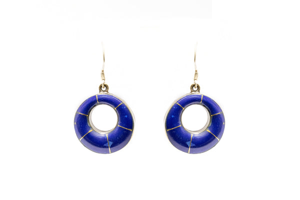 Blue Stone Hoop Earrings - Traditional & Fine South Asian Jewelry