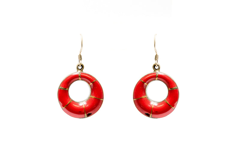 Red Stone Hoop Earrings - Traditional & Fine South Asian Jewelry