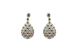 Blue & Green Tear Drop Silver Dangle - Earrings - South Asian Jewelry