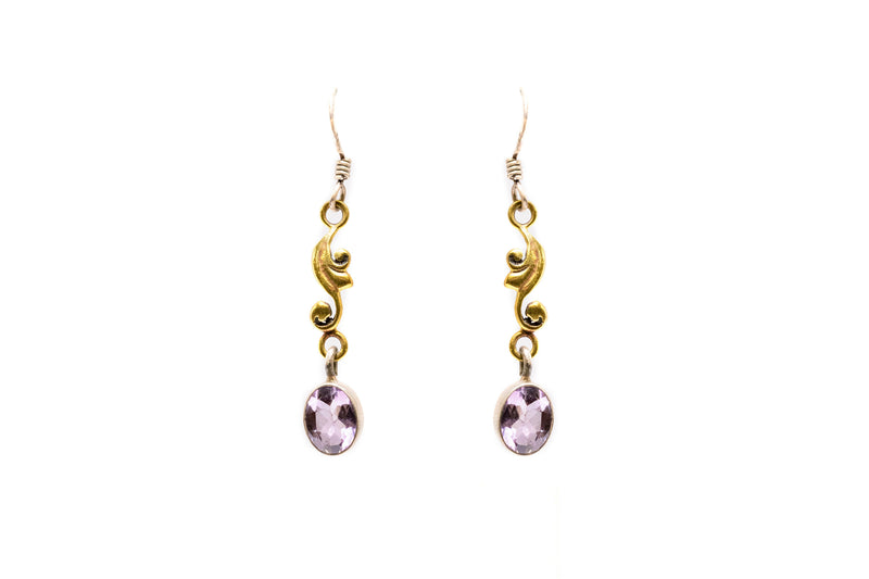 Lilac & Gold Dangle Earrings - South Asian Jewelry