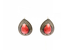 Silver Earrings with Pink Stone - Tradition Jewelry and Home Decor