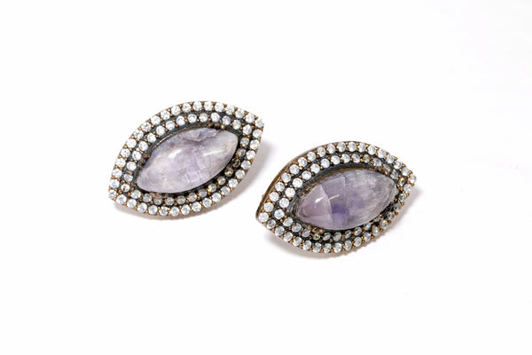 Turkish Silver - Cloudy Grey Stud Earrings - Fine South Asian Jewelry