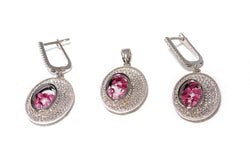 Silver Jewelry Set With Red Rubies - South Asian Jewelry & Accessories