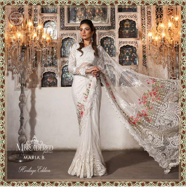 Pearl White Saree - Maria B. MBROIDERED - South Asian Fashion & Unique Home Decor