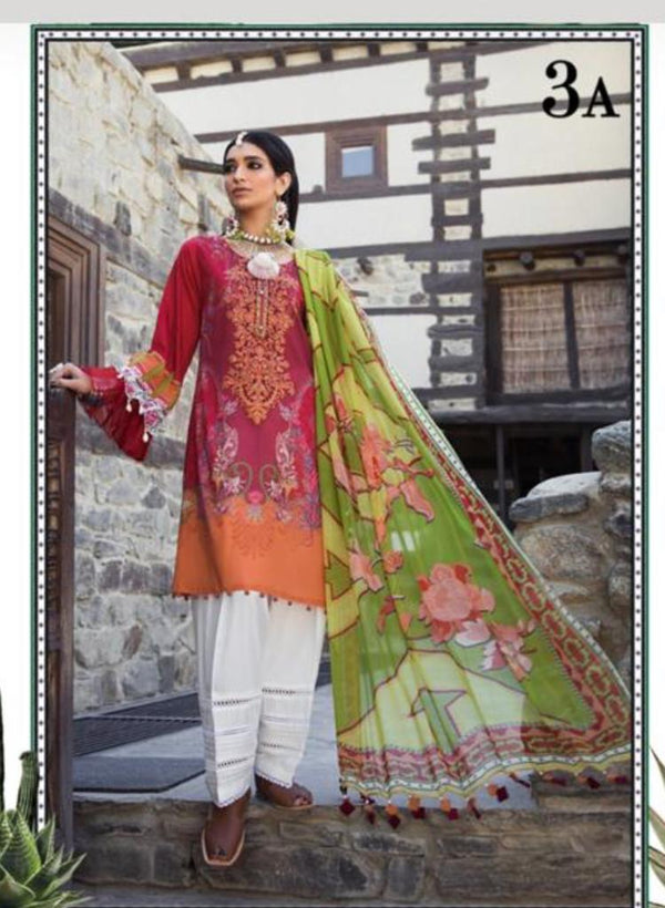 Magenta & Orange Salwar Kameez-Suit- Maria B - Trendz & Traditionz Boutique