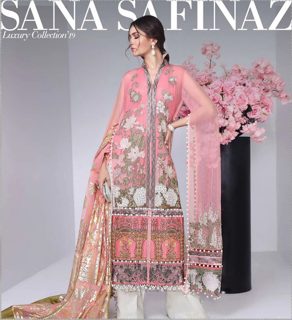 Pink Satin & Net Salwar Kameez-Suit - Sana Safinaz - Trendz & Traditionz Boutique