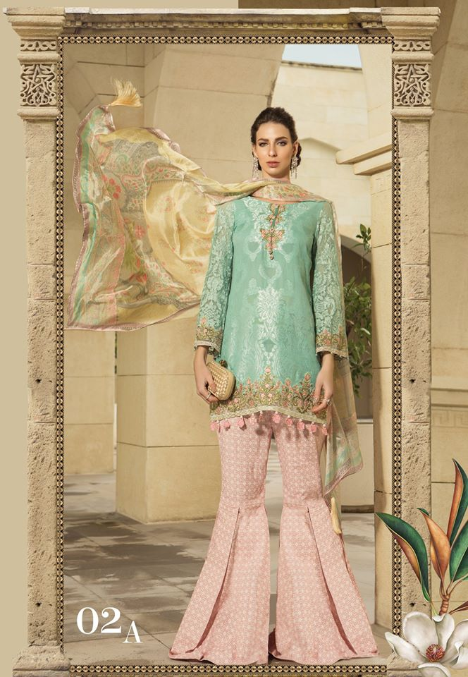 Blue & Pink Maria B. Summer 2019 Lawn-Cotton Suit.