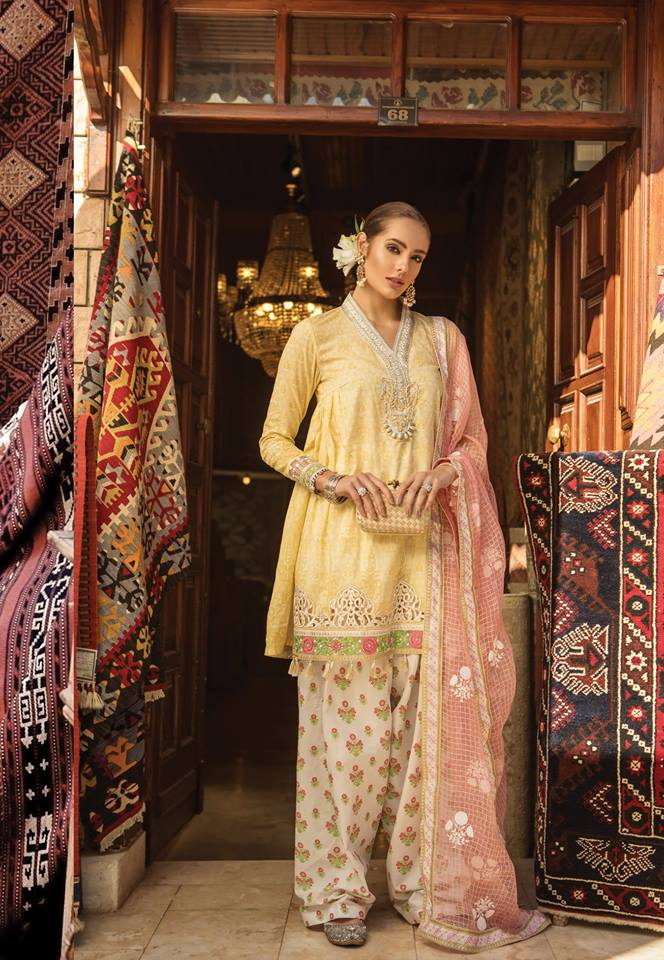 Maria B. Summer Cotton-Lawn Collection- Yellow Gold Colored with Embroidery- Trendz and Traditionz Boutique