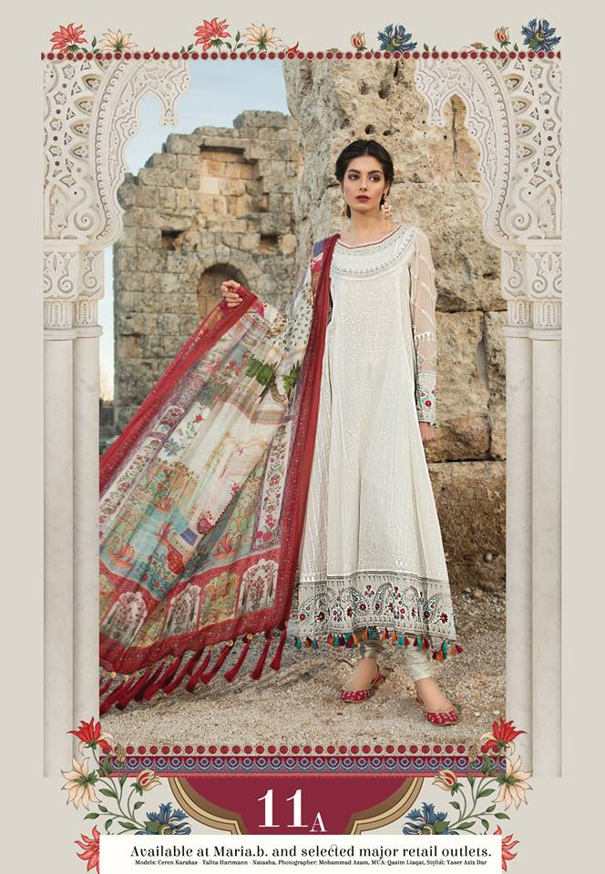 Maria B. Summer Cotton-Lawn Collection- Off-White Colored with Embroidery - Off-White Colored with Embroi
