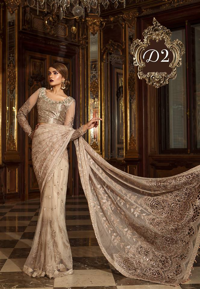 Maria B. Wedding Collection-Beige and Golden Colored with Embroidery - Trendz and Traditionz Boutique