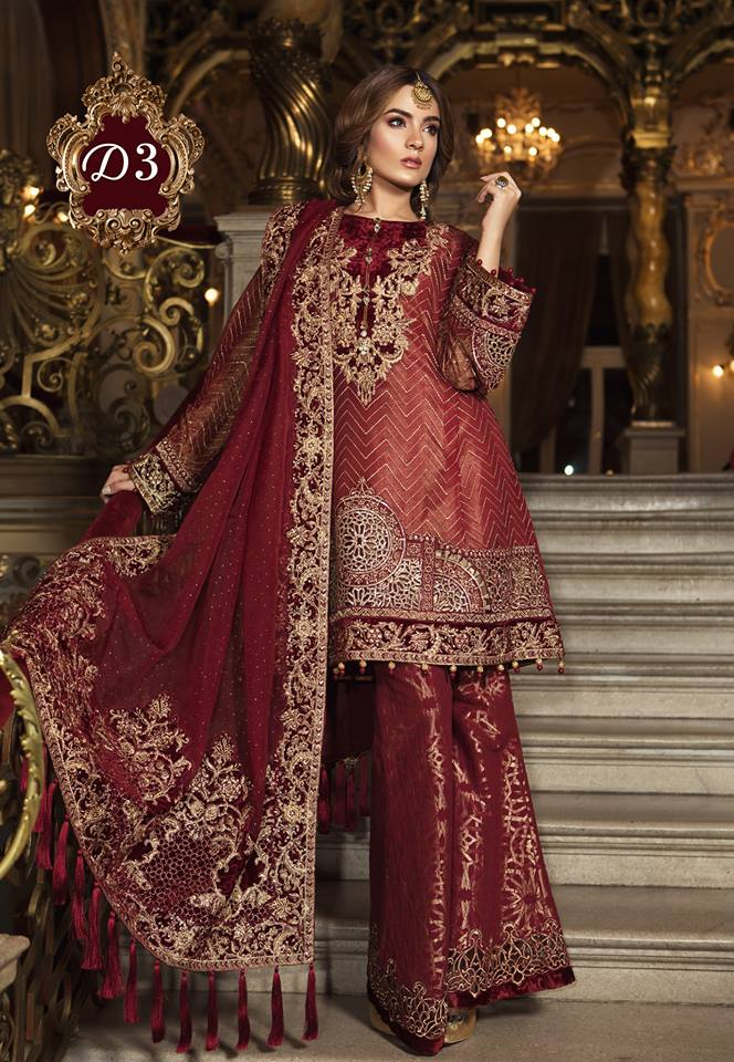Maria B. Wedding Collection - Deep Red Colored with Gold Embroidery - Trendz and Traditionz Boutique