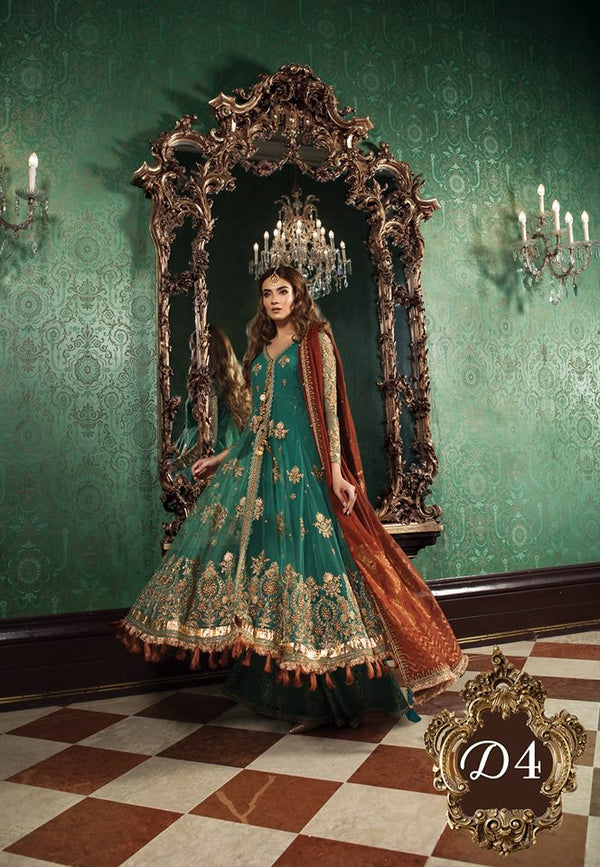 Maria B. Wedding Collection - Emerald Green Colored with Gold Accents- Trendz and Traditionz Boutique