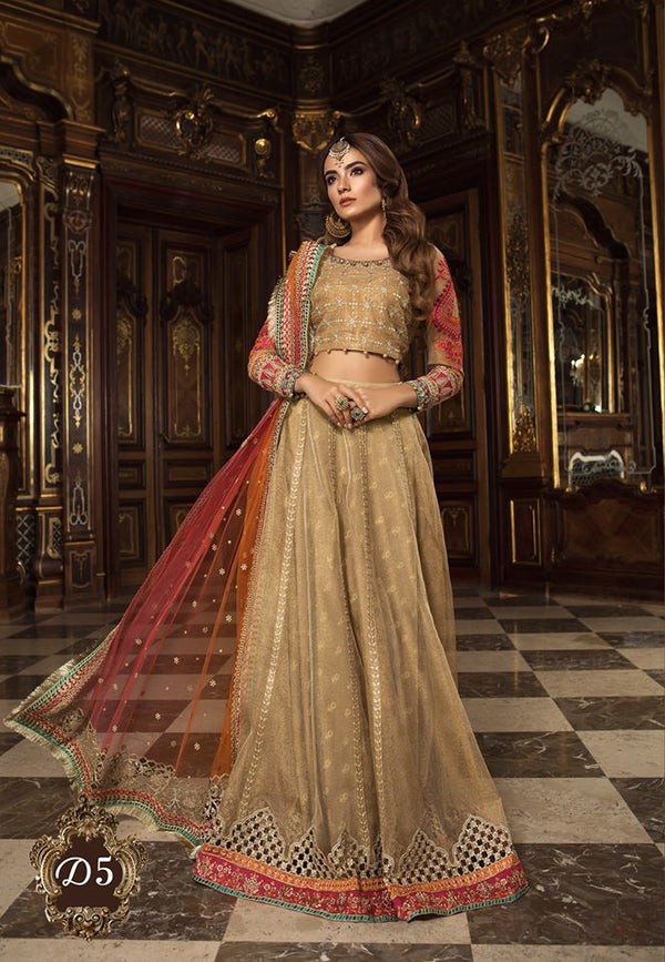 Maria B. Wedding Collection- Golden Colored with Red and Orange Accents - Trendz and Traditionz Boutique