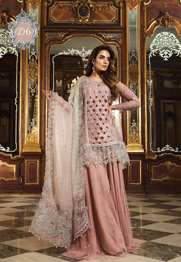 Maria B. Wedding Collection- Light Pink Colored with Silver Accents and Embroidery - Trendz and Traditionz Boutique