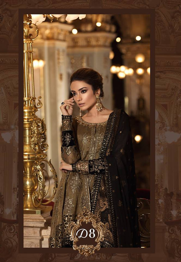 Maria B. Wedding Collection - Brown Colored With Embroidery-Trendz and Traditionz Boutique