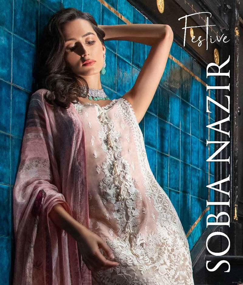 Pink Net Salwar Kameez-Suit - Sobia Nazir  - Trendz & Traditionz Boutique