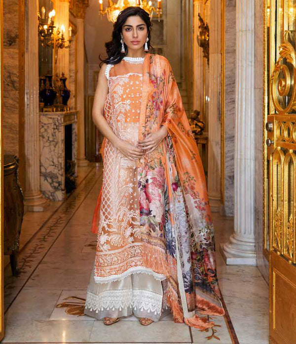 Orange Organza Salwar Kameez-Suit - Sobia Nazir Lawn 2019 - Trendz & Traditionz Boutique
