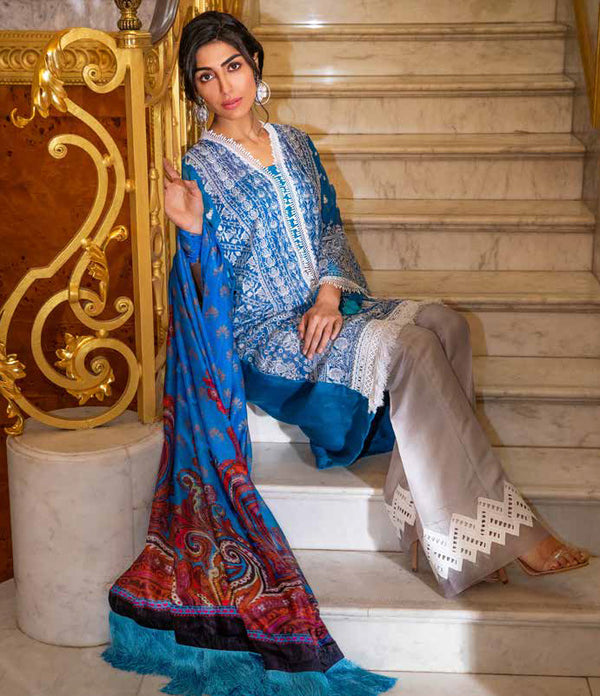 Blue Salwar Kameez-Suit - Sobia Nazir- Trendz & Traditionz Boutique