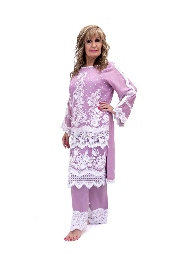 Purple Cotton Net Salwar Kameez-Suit - Sobia Nazir Festive 2019