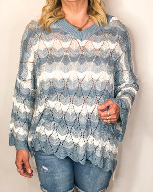 Semi Sheer Scalloped Sweater