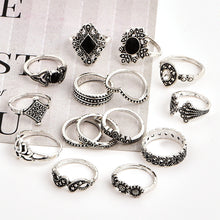 Load image into Gallery viewer, 15 Piece Bohemian Retro Crystal Flower Ring Set