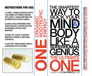 THE ONE capsule - Organic Nootropic Energy for Mood, Focus, Motivation and Creativity