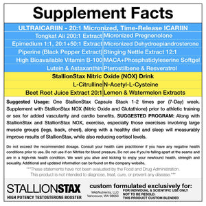 StallionStax Combo- Enhanced Testosterone, Endurance and Performance and Increased Strength for Men.