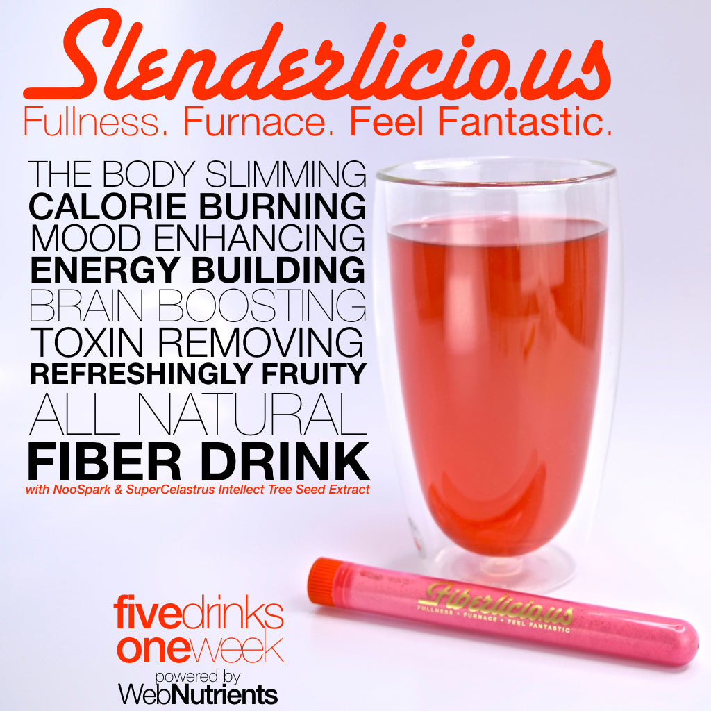 Slenderlicious Hormone-Boosting, Energizing, High-Fiber Weight-Loss Nootropic-Enhanced Drink Mix - For Weight, Mood and Energy Optimization.